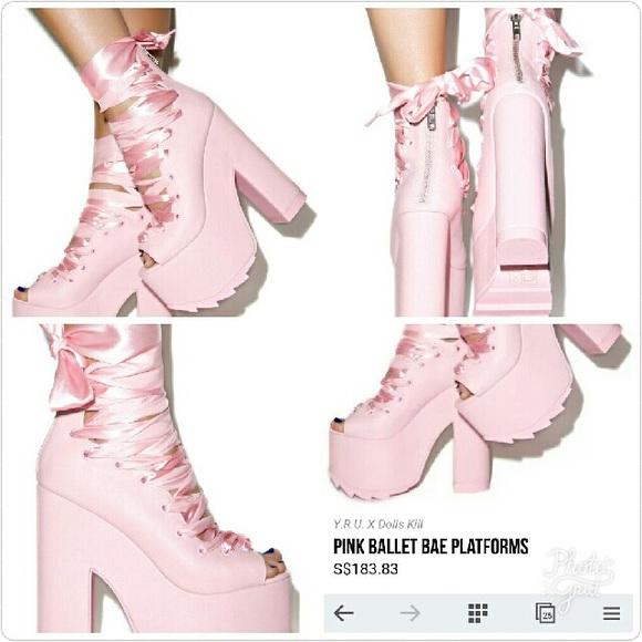 e1f1dade2e0 Dollskill X YRU Ballet Bae Platform Shoes in Pink